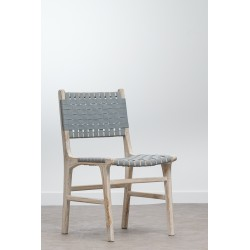 Chaise en teck et cuir